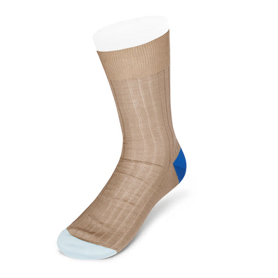 Brown Cotton Socks with Contrast Heel & Toe