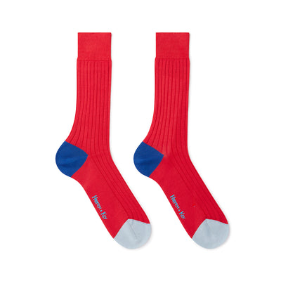 Red Cotton Socks with Contrast Heel & Toe