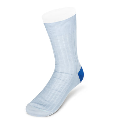 Pale Blue Cotton Socks with Contrast Heel & Toe