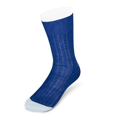 Royal Blue Cotton Socks with Contrast Heel & Toe