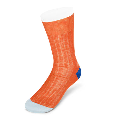 Orange Cotton Socks with Contrast Heel & Toe