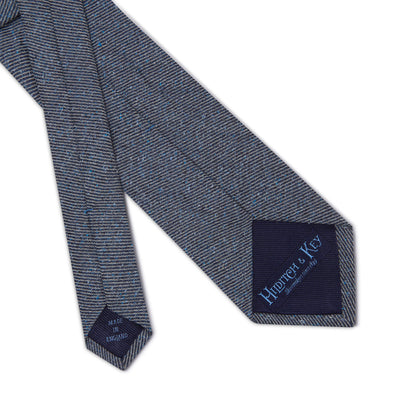 Navy Woven Cotton & Silk Tie with White Small Stripes
