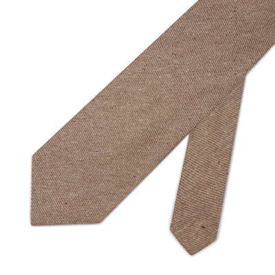 Light Brown Woven Cotton & Silk Tie with White Small Stripes