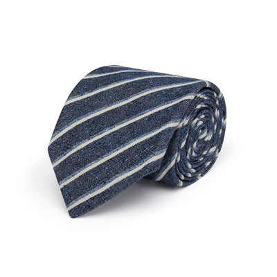 Navy Woven Cotton & Silk Tie with Blue & White Stripes