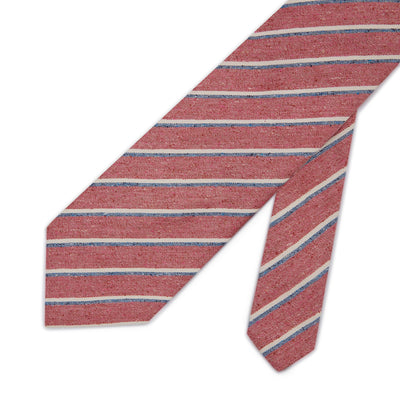 Pink Woven Cotton & Silk Tie with Blue & White Stripes