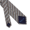 Grey Woven Cotton & Silk Tie with Blue & White Stripes