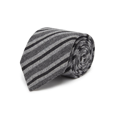 Grey Cashmere, Wool & Silk Tie with Charcoal & White Stripes