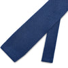 Plain Blue Knitted Silk Tie