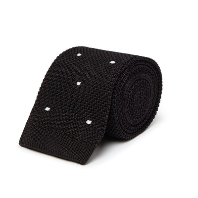 Black Knitted Silk Tie with White Spots
