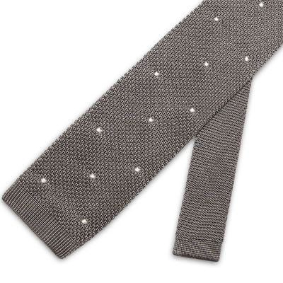 Grey Knitted Silk Tie with White Spots
