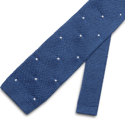 Blue Knitted Silk Tie with White Spots