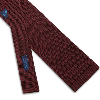 Burgundy Knitted Silk Tie with White Spots