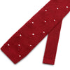 Deep Red Knitted Silk Tie with White Spots