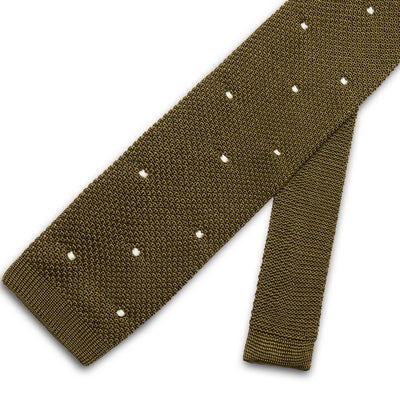Olive Green Knitted Silk Tie with White Spots