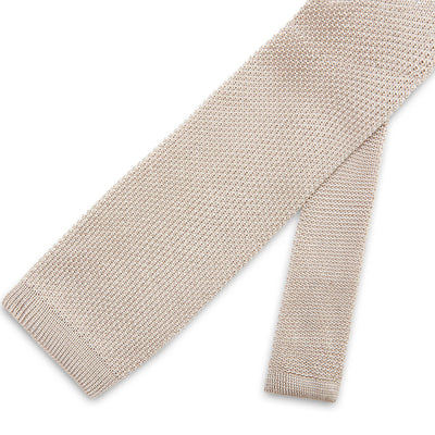 Plain Silver Knitted Silk Tie