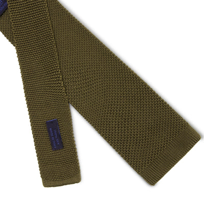 Plain Olive Green Knitted Silk Tie