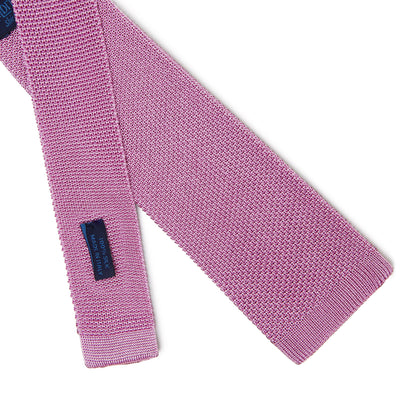 Plain Rose Pink Knitted Silk Tie