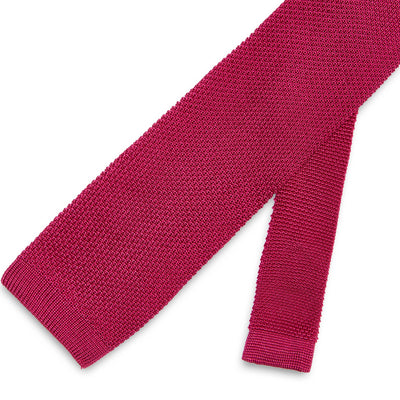 Plain Cerise Knitted Silk Tie