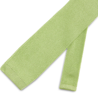 Plain Bright Green Knitted Silk Tie