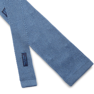 Light Blue Knitted Silk Tie with White Spots