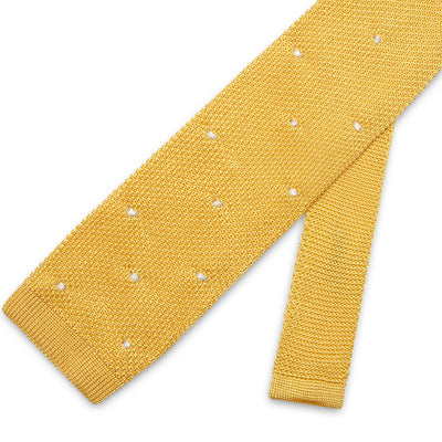 Yellow Knitted Silk Tie with White Spots