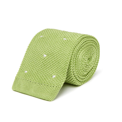 Bright Green Knitted Silk Tie with White Spots