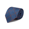 Blue & Black Houndstooth Woven Silk Tie With Orange Overcheck