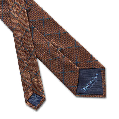 Orange Houndstooth Woven Silk Tie With Navy Overcheck