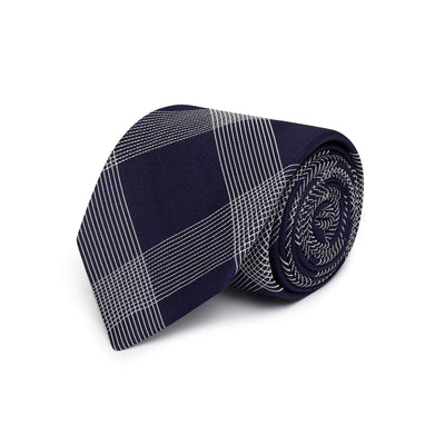Navy with White Check Woven Silk Tie