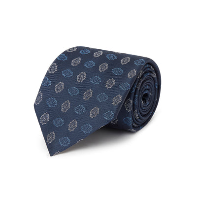 Navy Woven Silk Tie With Blue & White Flowers