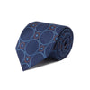 Blue Woven Silk Tie With Blue & Orange Circles