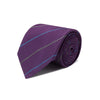 Purple  Woven Silk Tie With Blue & Grey Stripe