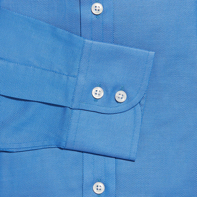 Contemporary Fit, Cut-away Collar, 2 Button Cuff Shirt in a Mid Blue Textured Oxford Cotton