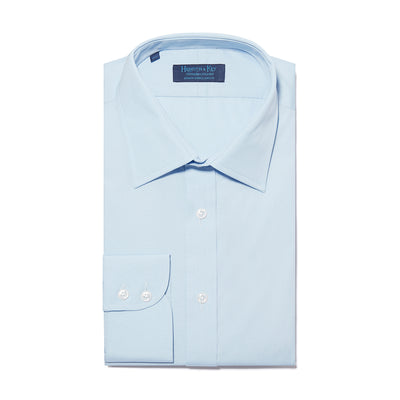 Contemporary Fit, Classic Collar, 2 Button Cuff Shirt in a Plain Light Blue Poplin Cotton