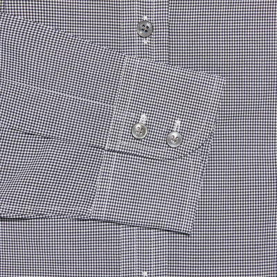 Contemporary Fit, Cut-away Collar, 2 Button Cuff Shirt in a Black & White Check Poplin Cotton
