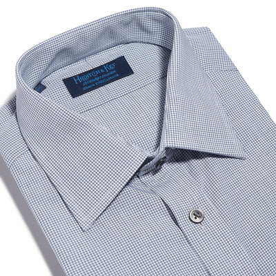 Contemporary Fit, Classic Collar, 2 Button Cuff Shirt in a Black & White Check Poplin Cotton