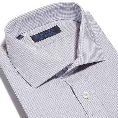 Contemporary Fit, Cut-away Collar, 2 Button Cuff Shirt in a Grey & White Check Poplin Cotton
