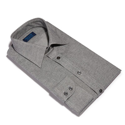 Contemporary Fit, Classic Collar, 2 Button Cuff Shirt in a Plain Grey Twill Cotton