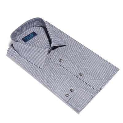 Contemporary Fit, Classic Collar, 2 Button Cuff Shirt in a Grey & White Check Herringbone Cotton