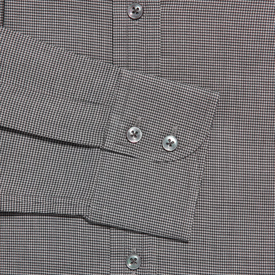 Contemporary Fit, Cut-away Collar, 2 Button Cuff Shirt in a Plain Grey & Black Houndstooth Cotton