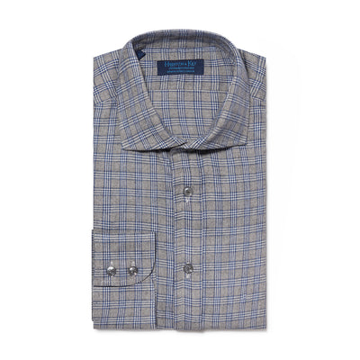 Contemporary Fit, Cutaway Collar, Two Button Cuff Shirt In Grey, Blue And White Check