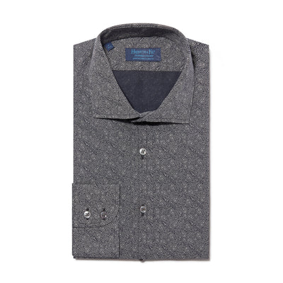 Contemporary Fit, Cutaway Collar, Two Button Cuff Shirt In Black & White Paisley