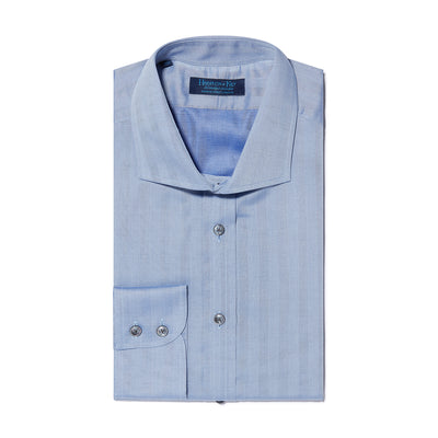Contemporary Fit, Cutaway Collar, Two Button Cuff Shirt With Blue Herringbone