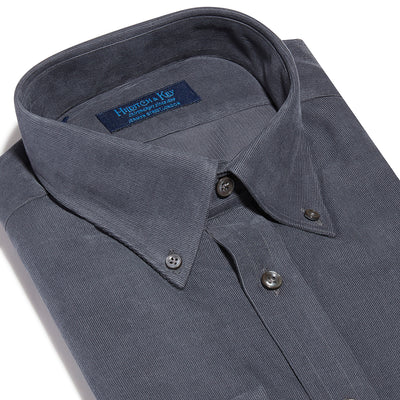 Contemporary Fit, Button Down Collar, 2 Button Cuff Shirt in a Dark Grey Cotton Corduroy
