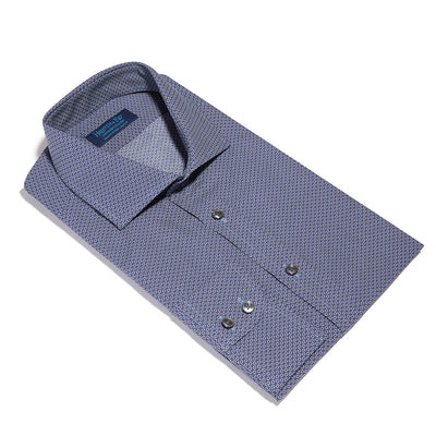 Contemporary Fit, Cut-away Collar, 2 Button Cuff Shirt in a Navy & White Abstract Twill Cotton