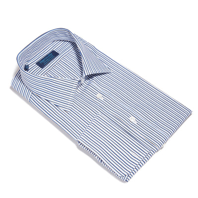 Contemporary Fit, Classic Collar, Double Cuff Shirt in a Navy, Black & White Stripe Poplin Cotton