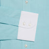 Contemporary Fit, White Classic Collar, White 2 Button Cuff Shirt in a Plain Green Twill Cotton