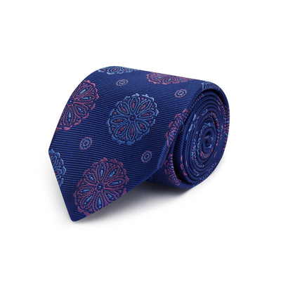 Navy Woven Silk Tie with Blue & Purple Abstract Circles