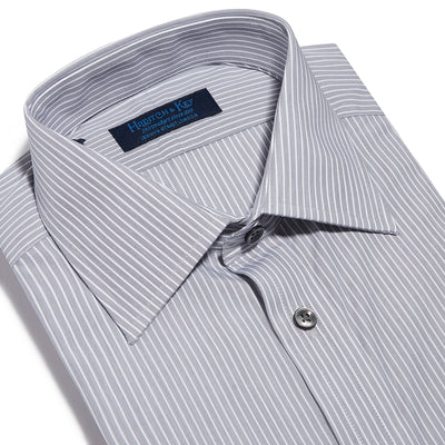 Contemporary Fit, Classic Collar, 2 Button Cuff Shirt in a Black & White Fine Stripe Poplin Cotton