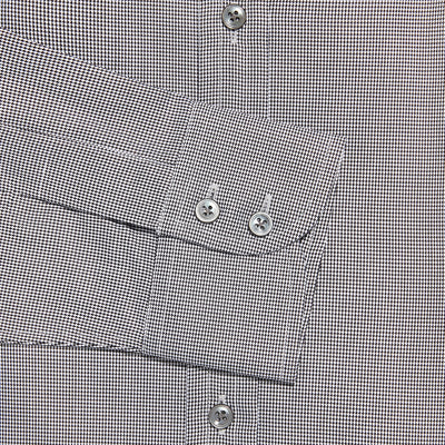 Contemporary Fit, Cut-away Collar, 2 Button Cuff Shirt in a Plain Black & White Houndstooth Cotton